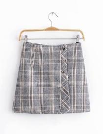 Fashion Gray Grids Pattern Decorated Skirt
