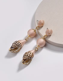 Fashion Pink Conch Shape Decorated Earrings