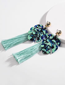 Fashion Green Leaf Shape Decorated Tassel Earrings