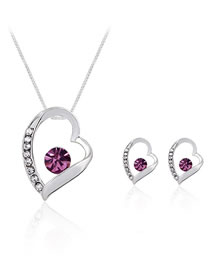 Fashion Pink Heart Shape Decorated Jewelry Set