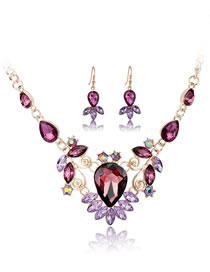 Fashion Purple Geometric Shape Decorated Jewelry Set