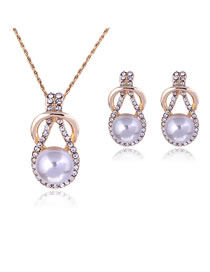 Fashion Light Purple Full Diamond Decorated Jewelry Set