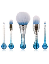 Fashion Blue Round Shape Decorated Makeup Brush(5pcs)