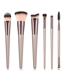 Fashion Rose Gold Pure Color Decorated Makeup Brush(6pcs)