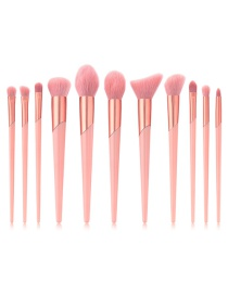 Fashion Pink Pure Color Decorated Makeup Brush(11pcs)