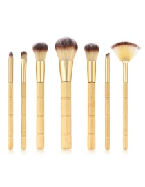 Fashion Yellow Pure Color Decorated Makeup Brush(7pcs)