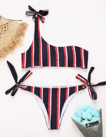 Sexy Multi-color Stripe Pattern Decorated Swimwear(2pcs)