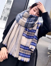 Simple Navy Grid Pattern Decorated Scarf