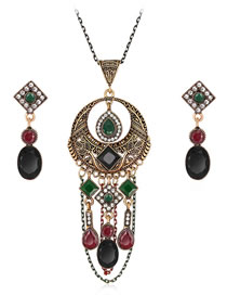 Fashion Black Diamond Decorated Hollow Out Jewelry Set (3 Pcs )