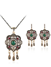 Fashion Green Flower Shape Decorated Jewelry Set (3 Pcs )