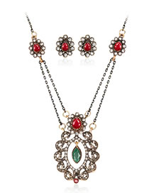 Vintage Red Flower Shape Decorated Jewelry Set (3 Pcs )