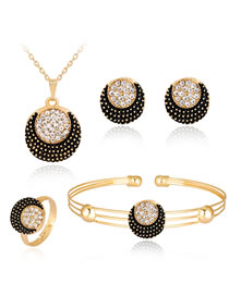 Fashion Black+gold Color Round Shape Decorated Jewelry Set (5 Pcs )