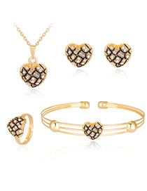 Fashion Gold Color+black Heart Shape Decorated Jewelry Set (5 Pcs )