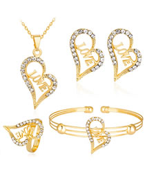 Fashion Gold Color Heart Shape Decorated Hollow Out Jewelry Set (5 Pcs)