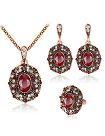 Vintage Red Diamond Decorated Jewelry Set (4 Pcs )