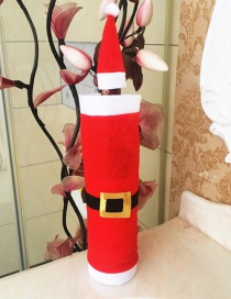 Fashion Red Belt Shape Decorated Christmas Bottle Cover