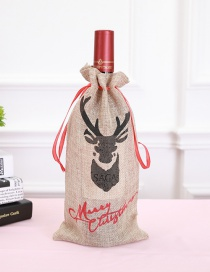 Fashion Khaki Elk Pattern Decorated Christmas Bottle Cover
