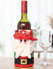 Fashion Red Santa Claus Pattern Decorated Christmas Bottle Cover