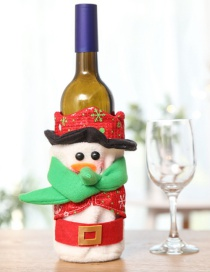 Fashion Red Snowman Pattern Decorated Christmas Bottle Cover