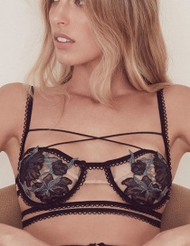 Sexy Black Embroidered Flower Decorated Simple Bra