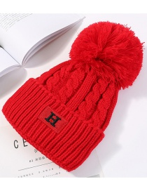 Fashion Red Embroidery H Design Knitted Hat
