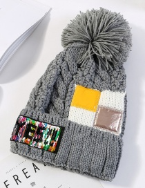 Fashion Gray Sequins&fuzzy Ball Decorated Knitted Hat
