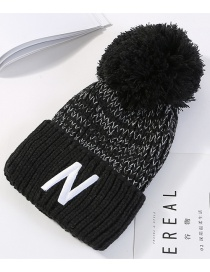Fashion Black Letter N Pattern Decorated Thicken Hat