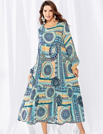 Elegant Blue Wreath Pattern Decorated Long Sleeves Dress