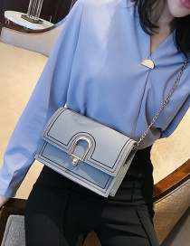 Fashion Gray Buckle Decorated Pure Color Shoulder Bag