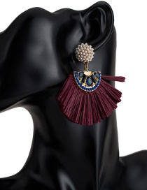 Fashion Purple Sector Shape Decorated Earrings