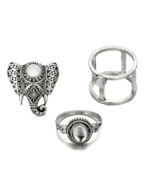 Fashion Silver Color Elephant Shape Decorated Ring (3 Pcs )