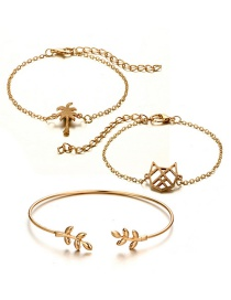 Fashion Gold Color Tree Shape Decorated Bracelet (3 Pcs )
