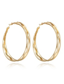 Fashion Gold Color Circular Ring Shape Decorated Earrings
