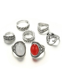 Fashion Silver Color Pure Color Decorated Ring (7 Pcs )