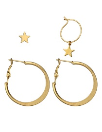 Fashion Gold Color Star Shape Decorated Earrings (4 Pcs )