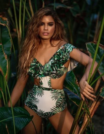 Fashion Green Leaf Pattern Decorated Bikini