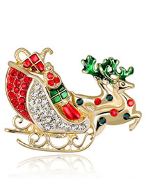 Fashion Multi-color Deer Shape Decorated Brooch
