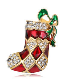 Fashion Red Sock Shape Decorated Brooch