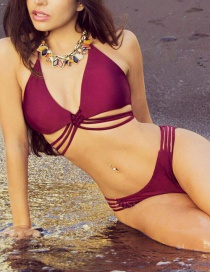 Fashion Claret Red Pure Color Decorated Bikini