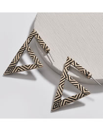 Fashion Antique Gold Triangle Shape Decorated Earrings