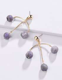 Fashion Purple Bead Decorated Earrings
