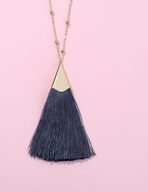 Fashion Gray Tassel Decorated Pure Color Necklace