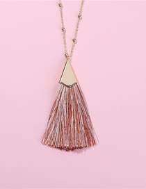 Fashion Pink Tassel Decorated Pure Color Necklace