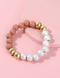 Fashion White Bead Decorated Pure Color Bracelet