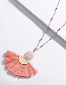 Fashion Pink Sector Shape Decorated Necklace
