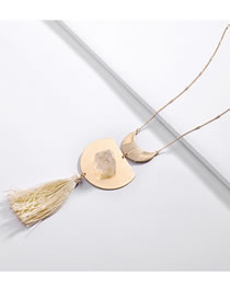 Fashion Beige Tassel Decorated Necklace