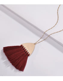 Fashion Claret Red Tassel Decorated Pure Color Necklace