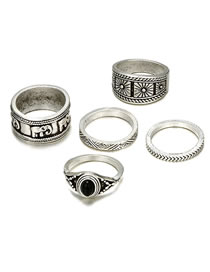 Fashion Silver Color Pure Color Decorated Ring(5 Pcs )