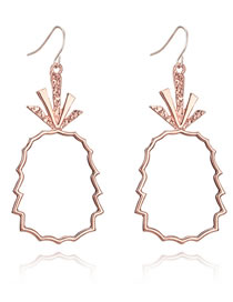 Fashion Rose Gold Pineapple Shape Decorated Hollow Out Earrings
