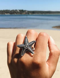 Fashion Silver Color Starfish Shape Decorated Ring